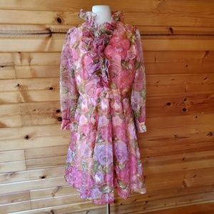 1970s Coco California Floral Polyester Party Dress